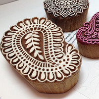 3 Carved Wood Henna Stamps,Paisley Wood Carved Stamps,Wood Carved Art,Large Henna Stamps,Wood Block Stamps,Carved Wooden Stamps,Flower Stamp