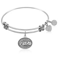 Expandable Bangle in White Tone Brass with XOXO Symbol