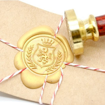 Lion Wreath Crest with Crown Gold Plated Wax Seal Stamp x 1