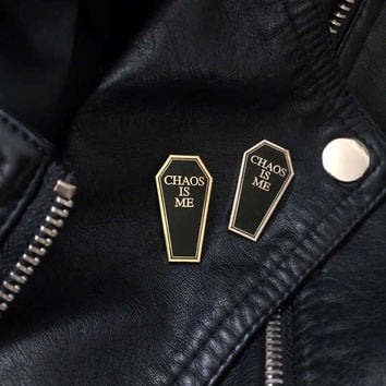 Chaos Is Me Enamel Pin -Life Club- hard enamel pin, lapel pin, misanthropist, coffin pin badge, goth pin, misanthrope