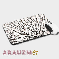 1Silhouette brown coral branch white, branch and uniq design mousepads