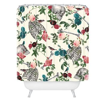 Belle13 Skulls Birds And Roses Shower Curtain
