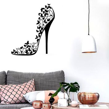 Wall Stickers Vinyl Decal Sexy High Heel Shoes Stiletto Butterflies EM506