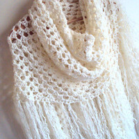 Lace Shawl Crochet Fringed Scarf Lightweight Shawl  Festival Shawl   Bridal Shawl Buy 3 or more items get 15% Discount! at checkout!