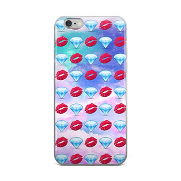 Red Lips & Diamonds Emoji Collage Teen Cute Girly Girls Tie Dye Bleach Pink & Blue iPhone 4 4s 5 5s 5C 6 6s 6 Plus 6s Plus 7 & 7 Plus Case