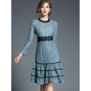Blue Round Neck Long Sleeve Ruffle Hem Lace Dress