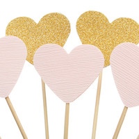 Pink and gold heart cupcake toppers / party picks