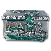 Belt Buckle -Korean War Veteran Enameled Belt Buckle