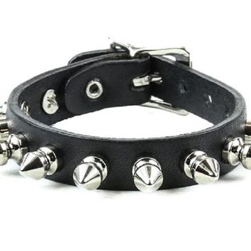 "1-Row 1/2"" Silver Spike Quality Black Leather Wristband Bracelet"