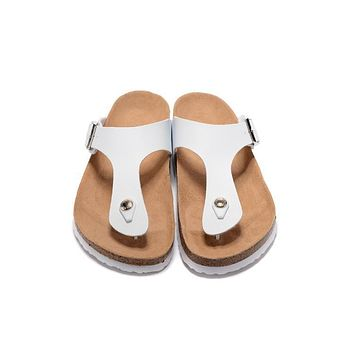 Birkenstock New Style 4 Summer Fashion Leather Cork Flats Beach Lovers Slippers Casual
