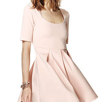 Light Pink Short Sleeve High Waisted Ruched Mini Skater Dress