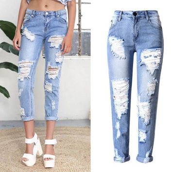 PEAPGB2 2016 Big Hole Jeans Women Fashion Ladies Cotton Denim Pants Stretch Womens Ripped Skinny Jeans Denim Jeans For Female 1574