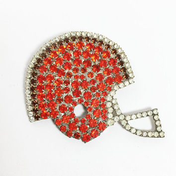 Cleveland Browns Rhinestone Helmet Pin Orange Brown Clear Rhinestones Brooch Sports Fan NFL Vintage 1990s Dorothy Bauer Jewelry