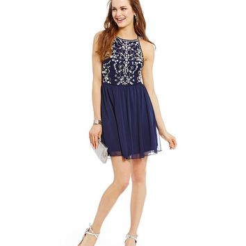 I.N. San Francisco Chiffon Jewel Bust A-line Dress | Dillards