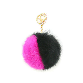 Black, Pink & Gold Two Tone Rabbit Fur Pom Pom Key Chain / Bag Charm Keychain, gift