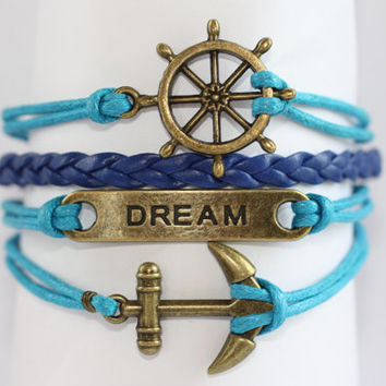 ALLURE~ Multilayer Bracelet Charm Bracelet Shower Friendship Best Friends Ship Wheel Dream Anchor Infinity Wrap Leather ilovecheesygrits