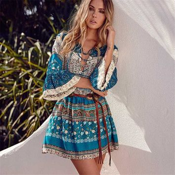 Ladies Floral Print Bohemian Dresses Elegant Summer Boho Woman Short Beach Dress Flare Sleeve Maxi Vintage Holiday Vestidos