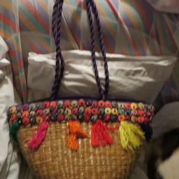 Vintage  Straw  beaded woven tote /  beach bag   Wicker Handbag made   Philippines