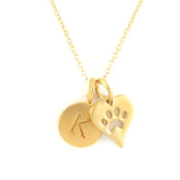 Gold Initial & Paw Charm Necklace