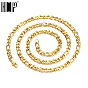 HIP Width 4mm/6mm Gold Silver 316L Stainless Steel Figaro Chain Necklace Men Jewelry 20-30inch Length For Gift