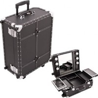 19.75 inch Studded Trim Black Faux Leather Rolling Wheeled Professional Travel 4 Extendable Tray Makeup Carrying Case Cosmetics Organizer Artist Studio Storage Train with Light Mirror