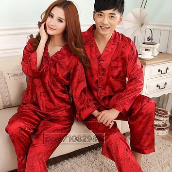 2017 Spring Summer Autumn China Silk Pijamas Sets of Sleepcoat & Trousers Couple Sleepwear Valentine Nightgown & Home Clothes
