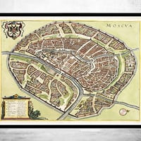 Old Map of  Moscow City Russia 1638