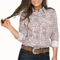 Panhandle Women's Red & White Paisley Print Long Sleeve Western Shirt