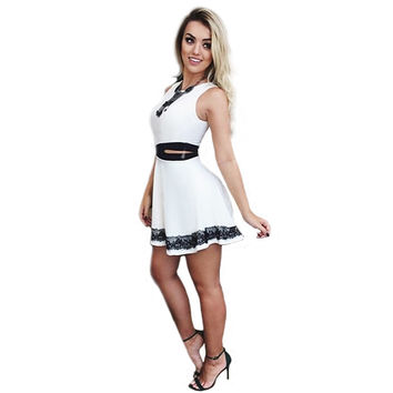 Hollow Out Lace Spliced A-Line Mini Dress