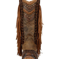 Women's Goat Snip Toe Boot with Studs and Fringe - C2986