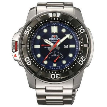 Orient EL06001D Men's M-Force Beast Blue Dial Stainless Steel Power Reserve Automatic Watch