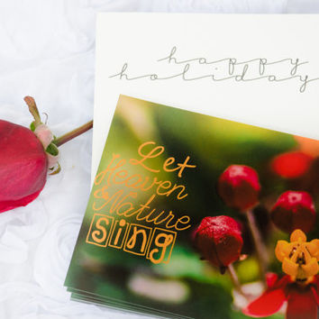 Christmas Cards,Red,Green & Gold,5x7 Flat Cards,Floral Cards,Photo,Christmas,Nature Photo Cards Set of 10, Greeting Cards, Nature Prints