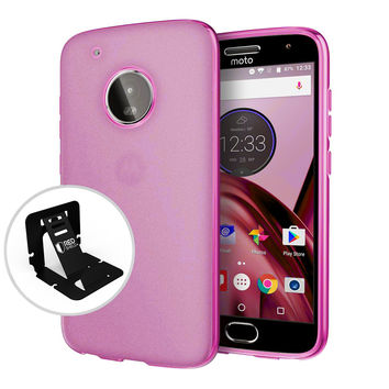 Motorola Moto G5 Plus Case, [REDshield] Slim & Flexible Anti-shock Crystal Silicone Protective TPU Gel Skin Case Cover [Hot Pink] with Travel Wallet Phone Stand