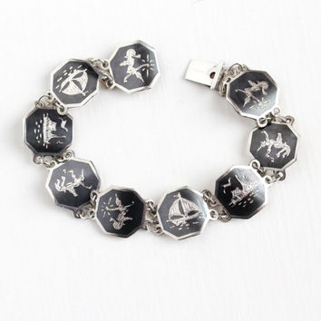 Vintage Sterling Silver Siam Niello Bracelet - 1940s Siamese Thai Black Hexagonal Panel Mekkala & Ramasoon Ramakien Sailboat Ship Jewelry
