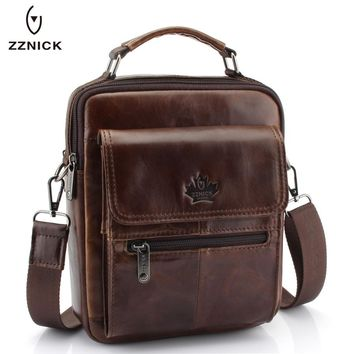 New Fashion Men Genuine Leather Messenger Bag Male Oil Wax Leather