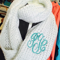 Chunky White Infinity Scarf Monogram Font shown MASTER CIRCLE in pool