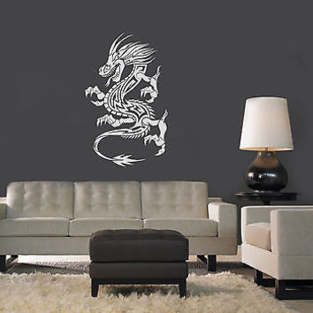WALL VINYL STICKER  MURAL  ART DECAL TRIBAL TATTOO CHINESE DRAGON A1275