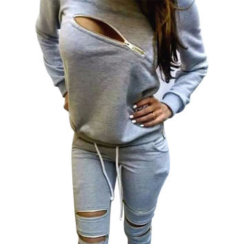 2016 Fashion Zipper Hollow Out Women Tracksuits Sport Suit O-Neck Long sleeve Women Hoodies 2 Piece Set Jogging Moletom Feminino