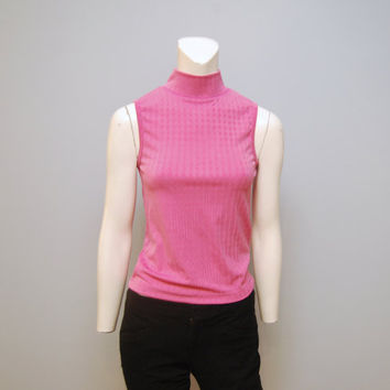 Vintage 1990's Hot Pink Sleeveless Mock Turtleneck Top Textured Slinky Tank Top Blouse Size Large