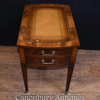 Canonbury - Edwardian Side Desk Table Mahogany Leather Toppped