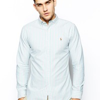 Polo Ralph Lauren Oxford Shirt with Stripe in Slim Fit