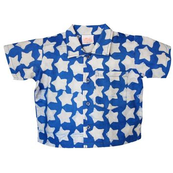 Fair Trade Baby Blue Stars button down shirt