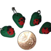 Ladybug Charms, Ladybird charms, Polymer Clay Charms, Jewelry Supplies, polymer clay ladybugs, leaf charms, nature charms, dainty charms