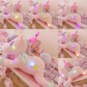 Dream pink plush unicorn pillow Night pillow bluetooth audio horse doll plush toy cute girl gift toy for children