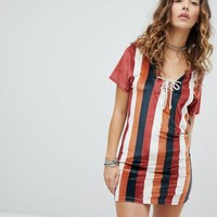 Sacred Hawk Polo Shirt Dress In Velvet Stripe at asos.com