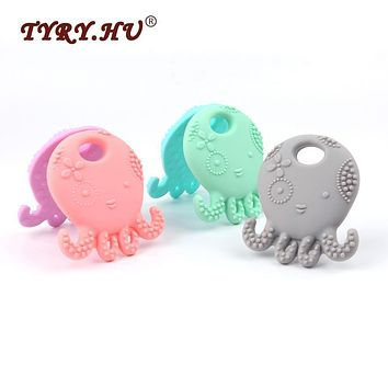 TYRY.HU Octopus Shaped Silicone Baby Teether Baby Christmas Gift BPA Free Infants Teething Chewable Toys Fashion Jewelry Pendant