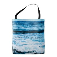 """""""Ride the waves"""" turquoise ocean photo tote bag"""