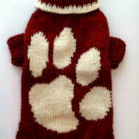 Terracotta Warm Winter Pattern Sweater For Big Dog.  Knit Dog Pattern Clothing. Knit Pattern Pet Sweater .Big Dog Clothes. Size