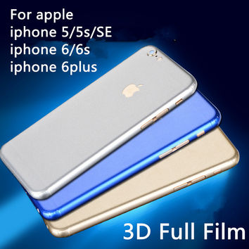 3D full body candy color fiber film For apple iphone 5 5s se 6 6s plus protective cover sticker Cellphone back Protective film