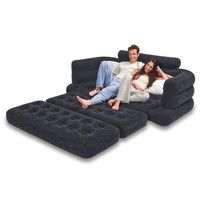 Camping Inflatable Pull Out Sofa Sleeper Mattress Queen Size Air Bed with Cup Holders